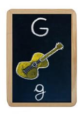 letter G on blackboard