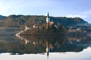 The picturesque island on Bled lake