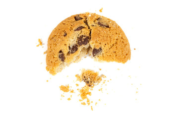 Half eaten chocolate chips cookie