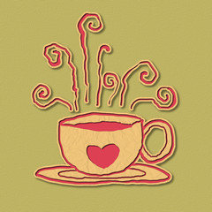 papercraft coffee lover illustration