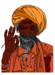 indiano meditazione su sfondo bianco