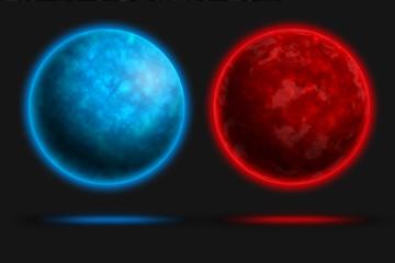 Planetas azul / rojo