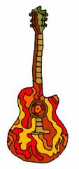 musica - chitarra su sfondo bianco