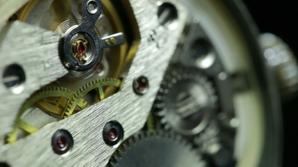Mechanism inside an old watch. Close-up.
