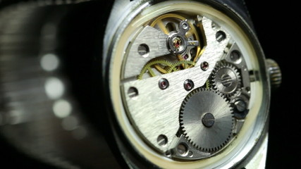 Mechanism inside an old watch.