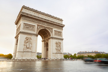 Arc de Triomphe in Paris in the morning