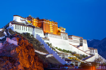 Potala palace at dusk in Lhasa, Tibet