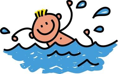 Happy Swimming Boy