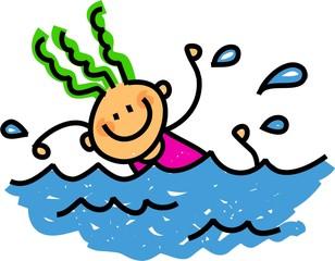 Happy Swimming girl