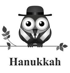 Comical bird Hanukkah Day message