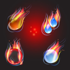 Fire, collection, vector illustration