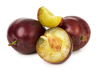 juicy plums isolated on the white background