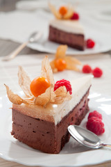 Chocolate cake with raspberries and exotic fruit