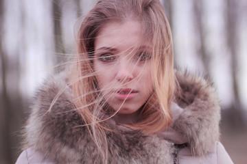winter portrait of a beautiful blonde