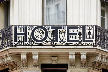 Hotel sign on balcony in Europe