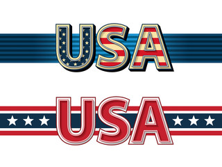 USA stylized lettering with ribbons.