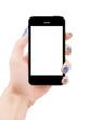 Female hand holding smart phone