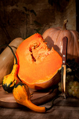 Pumpkin cut and gourds on a rustic wooden table