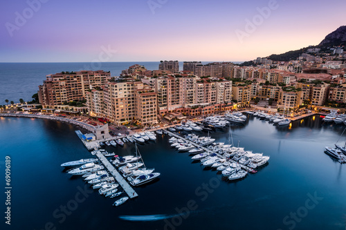 Night view on Fontvieille and Monaco Harbor