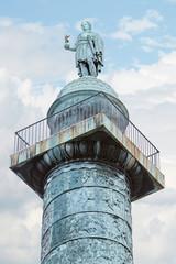 Place Vendome column in Paris, blue sky