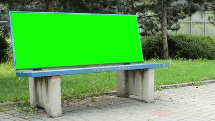 outdoor bench - billboard - green screen