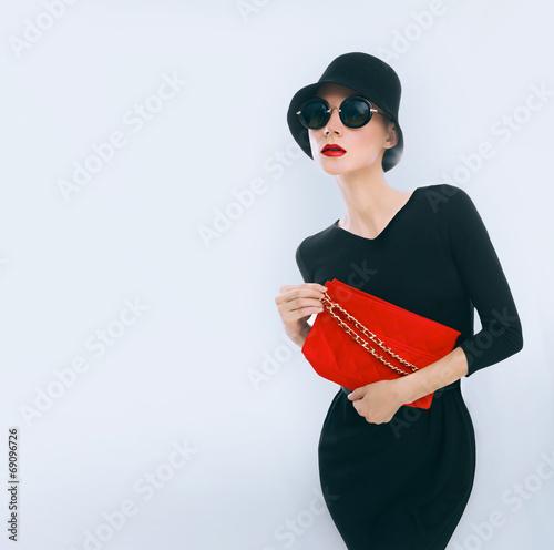 Poster Retro style. Elegant glamor lady