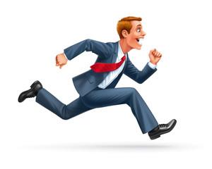 running businessman cartoon vector