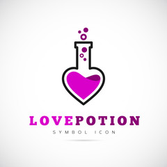 Love Potion Vector Concept Symbol Icon or Logo Template