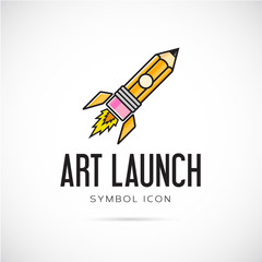 Art Launch Pencil Rocket Vector Concept Symbol Icon or Logo