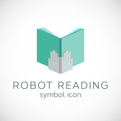 Metal Hands With Book Template Robot Reading Symbol Icon or