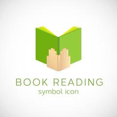 Book Reading Vector Concept Symbol Icon or Label