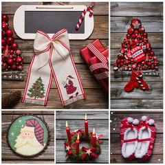 Weihnachtskarte klassisch in Rot, Weiß mit Holz