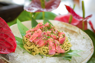 Cold pasta with tuna on ice