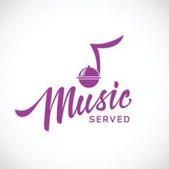 Music served vector concept icon with hand lettering