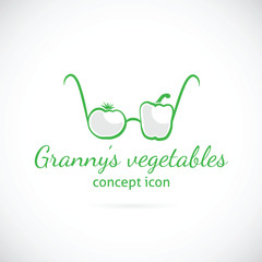 Granny's vegetables concept symbol icon