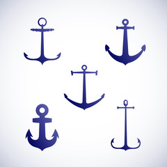 Set of vector anchor icons or symbols