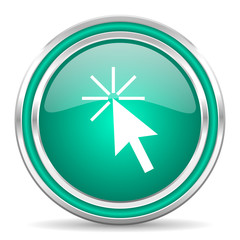 click here green glossy web icon