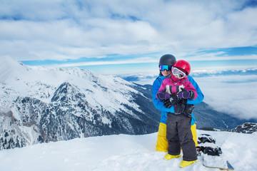 Family in ski equipment
