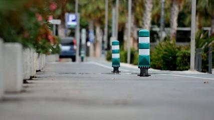 zona peatonal con patinadores y peatones