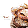 Freshly baked traditional bread isolated on white background