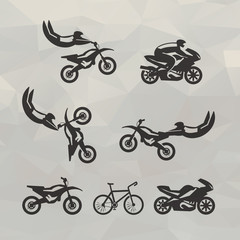 Motorcycle icons. Vector format