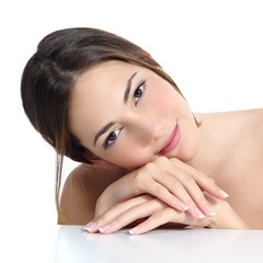 Beauty woman portrait with perfect skin and manicure