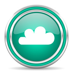 cloud green glossy web icon