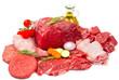 canvas print picture - Fresh butcher cut meat assortment garnished