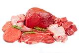 Fresh butcher cut meat assortment garnished