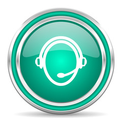 customer service green glossy web icon