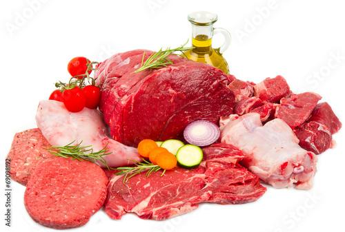 canvas print picture Fresh butcher cut meat assortment garnished