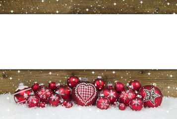 Weihnachtskarte in Rot und Weiß mit Holz als Hintergrund