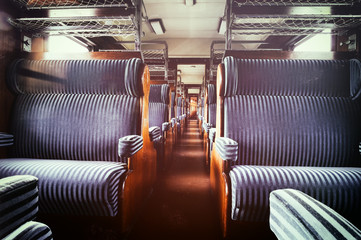 Last century rail car interior