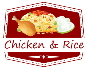 A food with a chicken and rice label